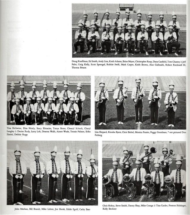 1985-86 Band Sections 2 (Trumpet, Clarinets, Tenor Saxes, Trombones, Baritones)