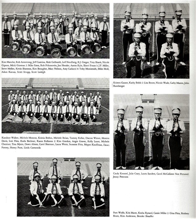 1985-86 Band Sections (Drums, Flugelhorns, Color Guard, Piccolos, Rifles)