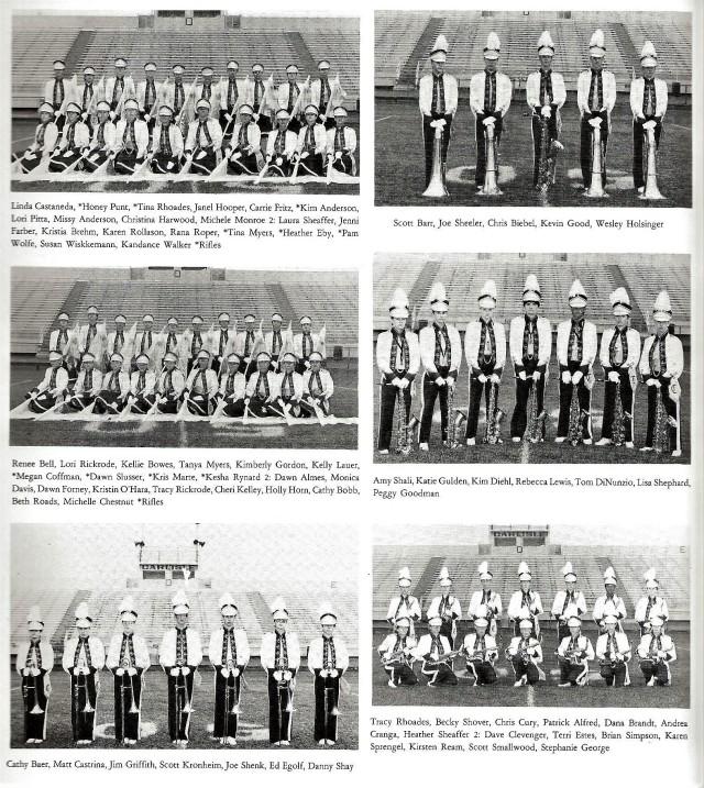 1986-87 Band Sections 2 (Color Guard 1, Tubas, Color Guard 2, Tenor Saxes, Trombones, Alto Saxes)