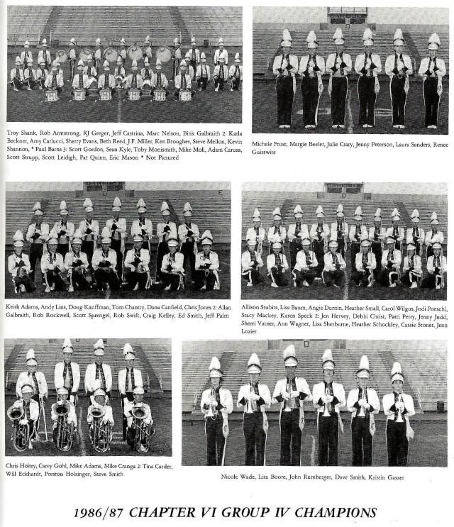 1986-87 Band Sections (Drums, Piccolos, Trumpets, Flutes, Baritones, Flugels)