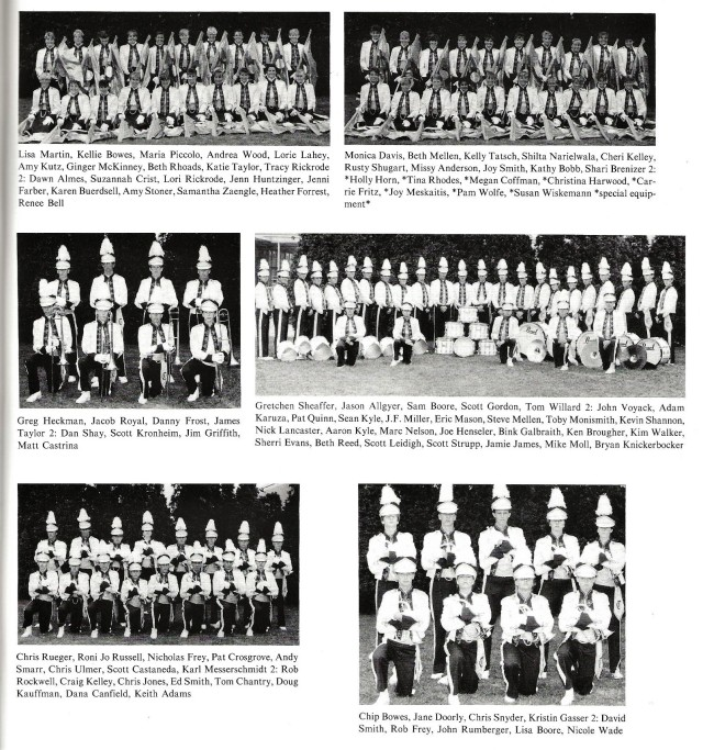 1987-88 Band Sections 2 (Color Guard 1 and 2, Trombones, Drums, Trumpets, and Flugels)