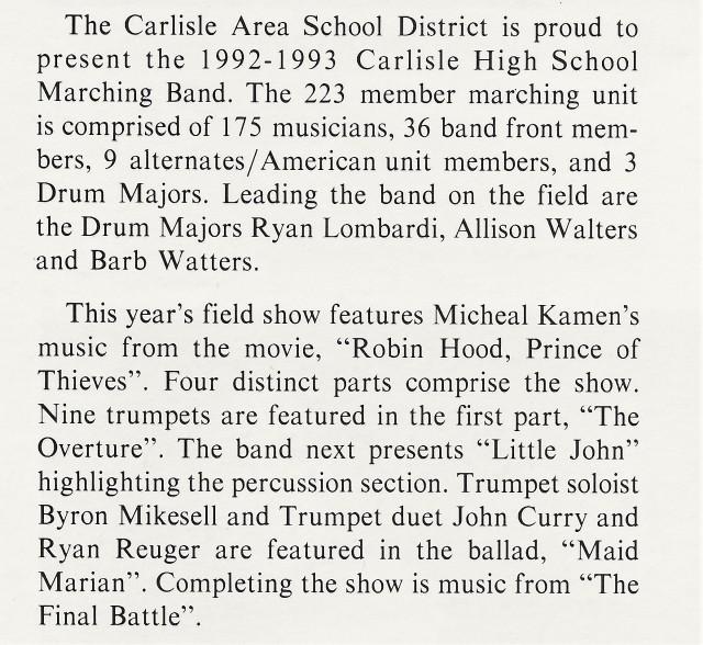 1992-93 Band Write-up