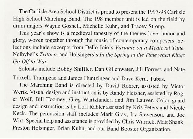 1997-98 CHS Band write-up