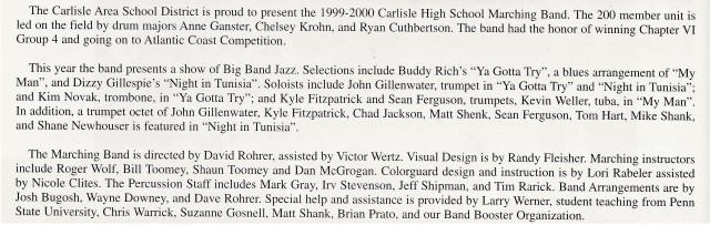 1999-2000 CHS Band Write-up